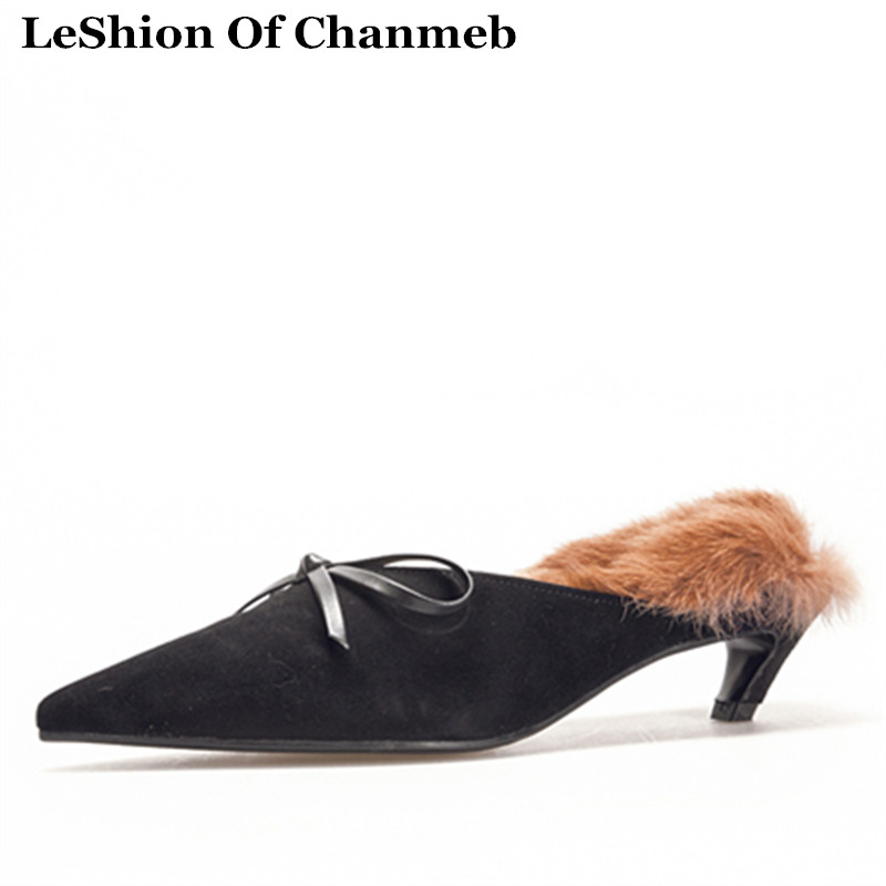 Automne Slippers Moutons Fourrure Slippers De Chaton Bowtie Lapin Pantoufles Chaussures Pointu Black Diapositives nude Réel Slip Mules Doux Daim Talons Ons Toe Femmes Chaud Hiver 3AL5q4Rj
