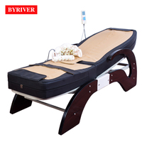 BYRIVER Factory Wholesale Jade Massage Bed Korea Popular Electric Far Infrared Ray FIR Therapy Full Body Massager 7+4 Roller