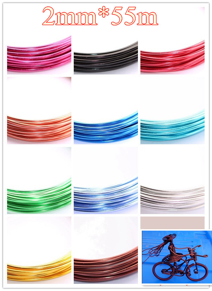 ᓂ11 colores/Lot 2mm x 55 m aluminio WRAP Craft joyería Alambres ...