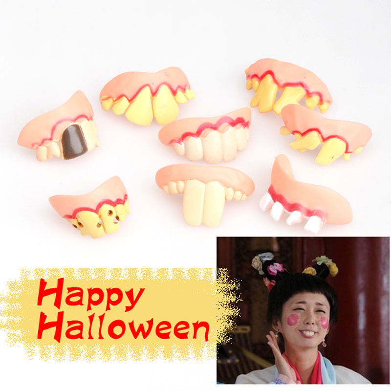 Prank Startle Tooth Halloween Scary Crooked Monster Teeth Novelty Prank Ugly Joke Simulated Tooth Stickers