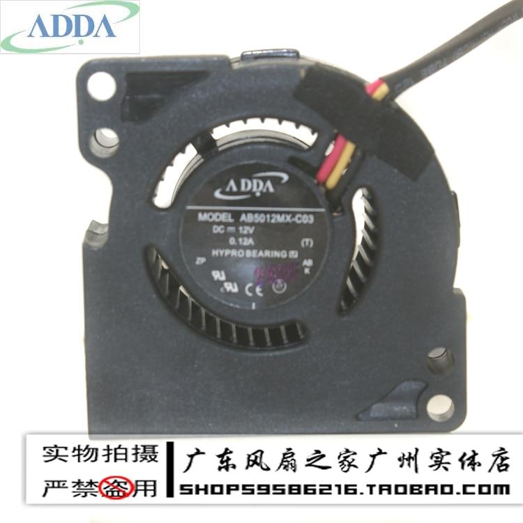 цены  Wholesale ADDA AB5012MX-C03 5020 5CM Association turbo blower fan 12V 0.12A speed hydraulic bearing