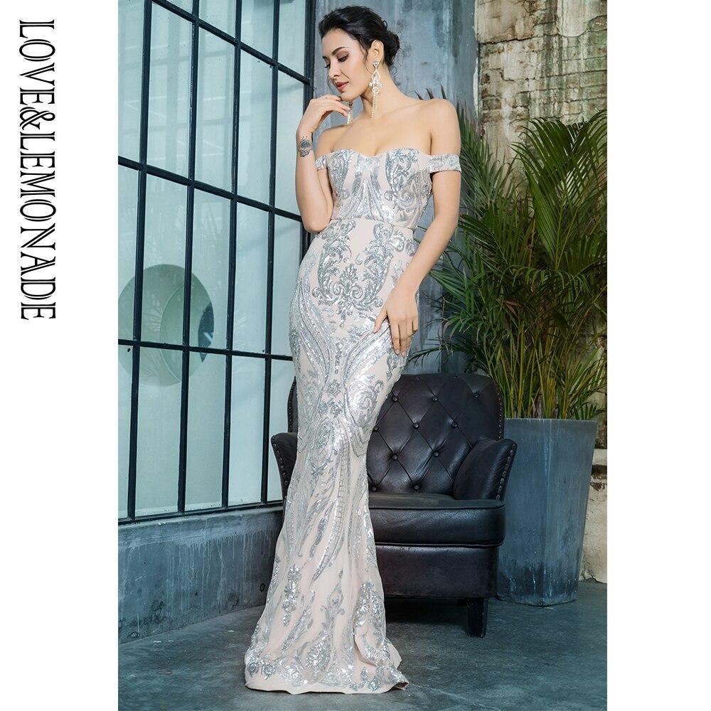 Kadın Giyim'ten Elbiseler'de Aşk ve Limonata Kapalı Omuz Geometrik Sequins Bodycon uzun elbise LM81343SILVER'da  Grup 1