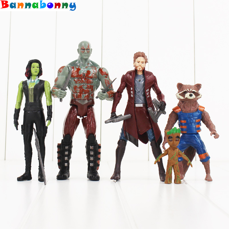 5PCS/Set Guardians of the Galaxy 2 Star Lord Baby Tree Man Gamora Drax the Destroyer Rocket Raccoon PVC Action Figures Toys zipower pm 5152