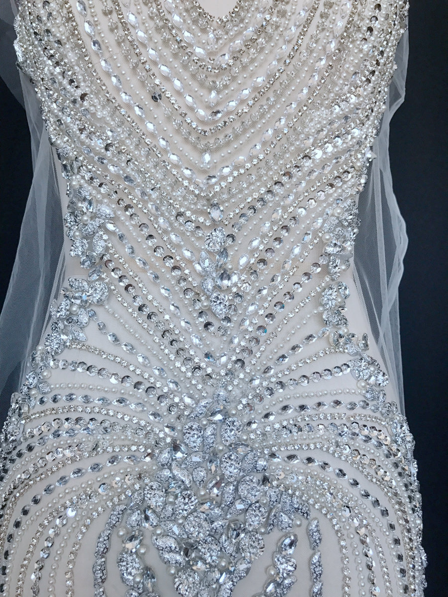 Handmade Sew on silver rhinestones applique on mesh big crystal trim patches for wedding dress front part 86*40cm