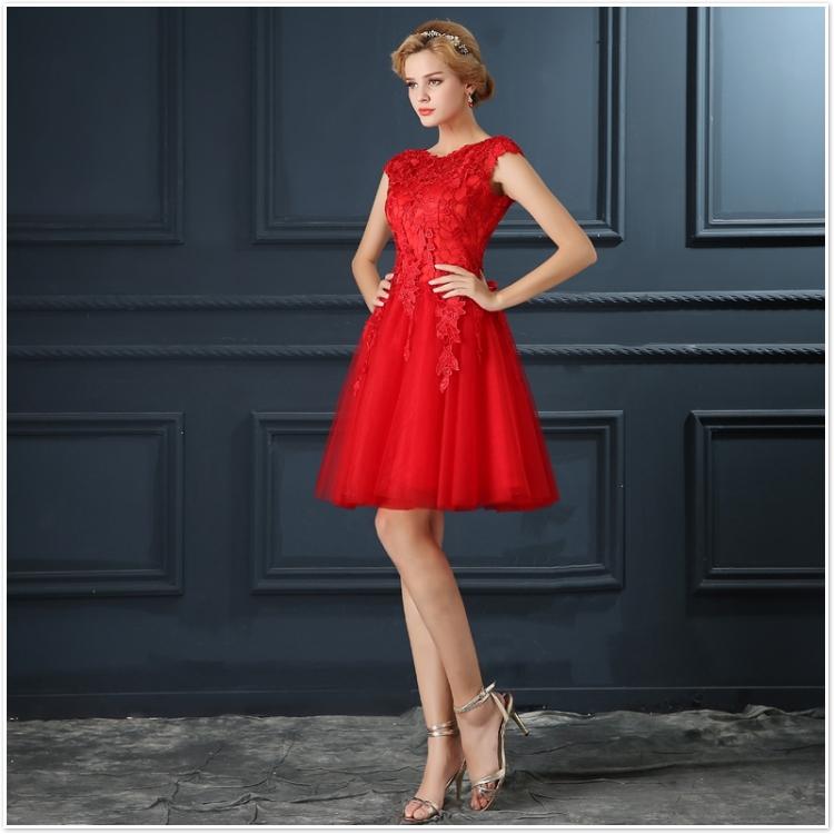 Robe De Soiree 2017 gery u collar Lace Up short evening dress abendkleider vestito da sera prom dresses party dresses 4 colors 9