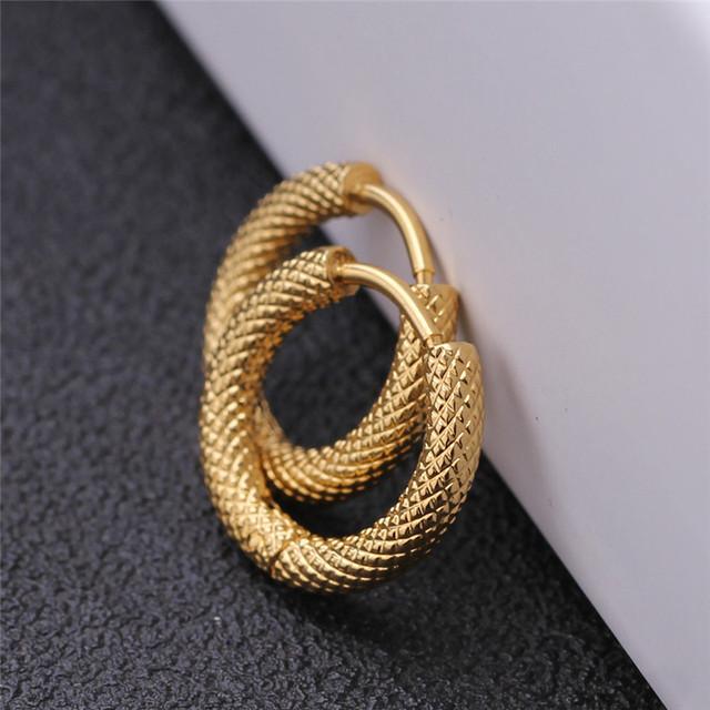 Punk Gold Stainless Steel Hoop Stripes Earrings