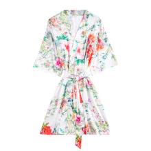 Daeyard Silk Satin Floral Print Short Kimono Robe V Neck Half Sleeve Wedding Bride Bridesmaid Robe Sexy Sleepwear Dressing Gown ethnic floral print half sleeve short kimono fo women