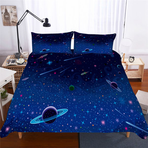 Image 1 - Bedding Set 3D Printed Duvet Cover Bed Set Planet Starry Sky Home Textiles for Adults Lifelike Bedclothes with Pillowcase #ET03
