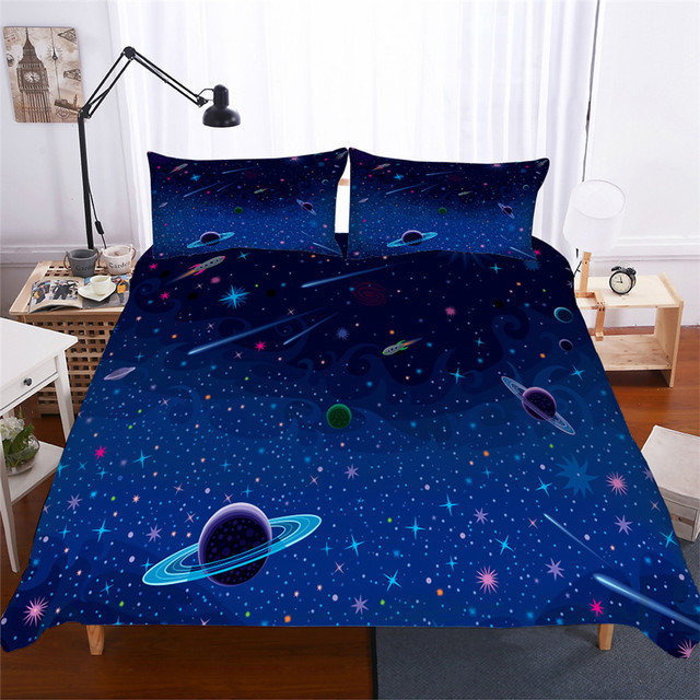 Bedding Set 3D Printed Duvet Cover Bed Set Planet Starry Sky Home Textiles for Adults Lifelike Bedclothes with Pillowcase #ET03