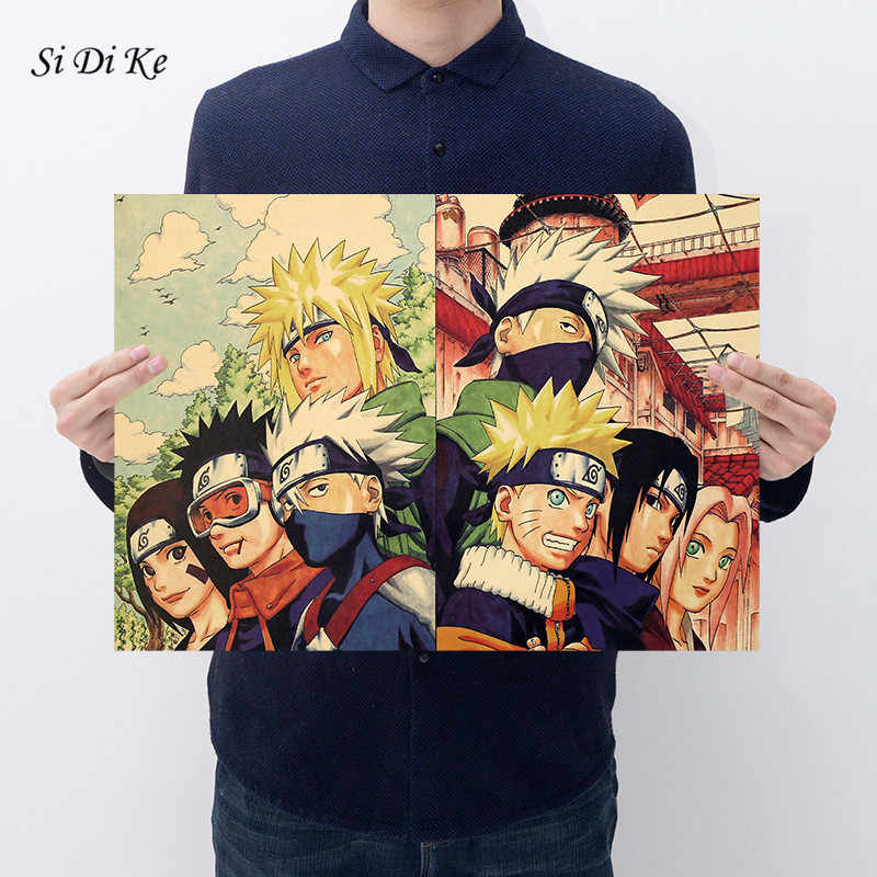 Si Di Ke cartel de papel Kraft Retro pintura decorativa de Bar Anime decoración de carteles cartel de Naruto Ninja de la decoración del hogar