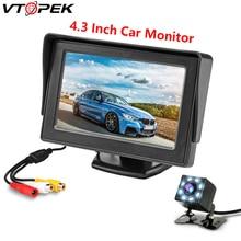 купить Vtopek Car Monitor 4.3 Display for Rear View Camera TFT LCD Screen Backup Camera HD Color PAL/NTSC 12V Auto Parking System дешево
