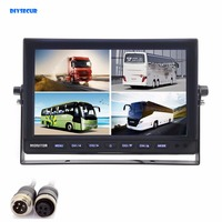 DIYSECUR 4CH 4PIN DC12V 24V 10 Inch 4 Split Quad LCD Screen Display Color Video Monitor