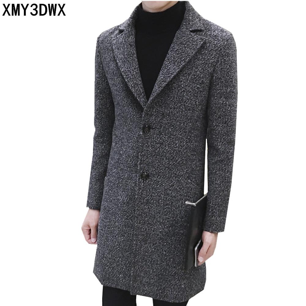 100% Kwaliteit 2019 Mode Winter Herfst Mannen Trenchcoat Lange Slim Fit Overjas Jas Wind Jassen Mode Bovenkleding Tops Mannen Wollen Jas