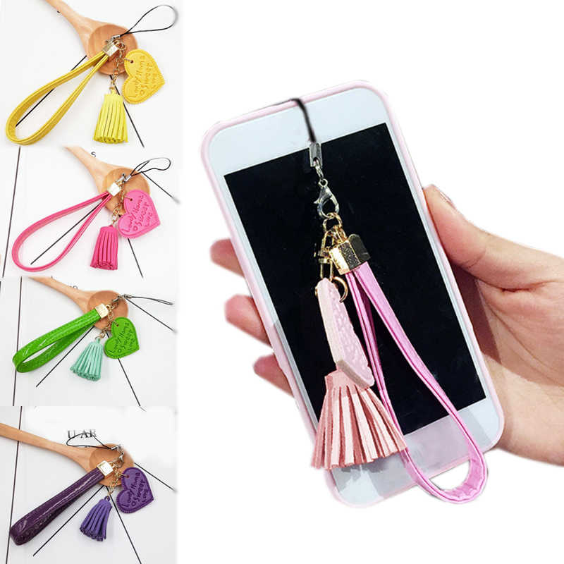 2019 New Arrival 1PC Leather Heart Cortical Tassels Key Chain Mobile Phone Shell Accessories PU keychain jewelry ring  7 Colors