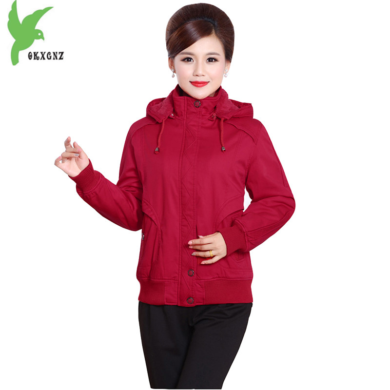 Plus Size 5XL Middle aged Women Winter Pure Cotton Clothing Jackets New Fashion Hooded Flocking Warm Loose Mother Coat OKXGNZ987