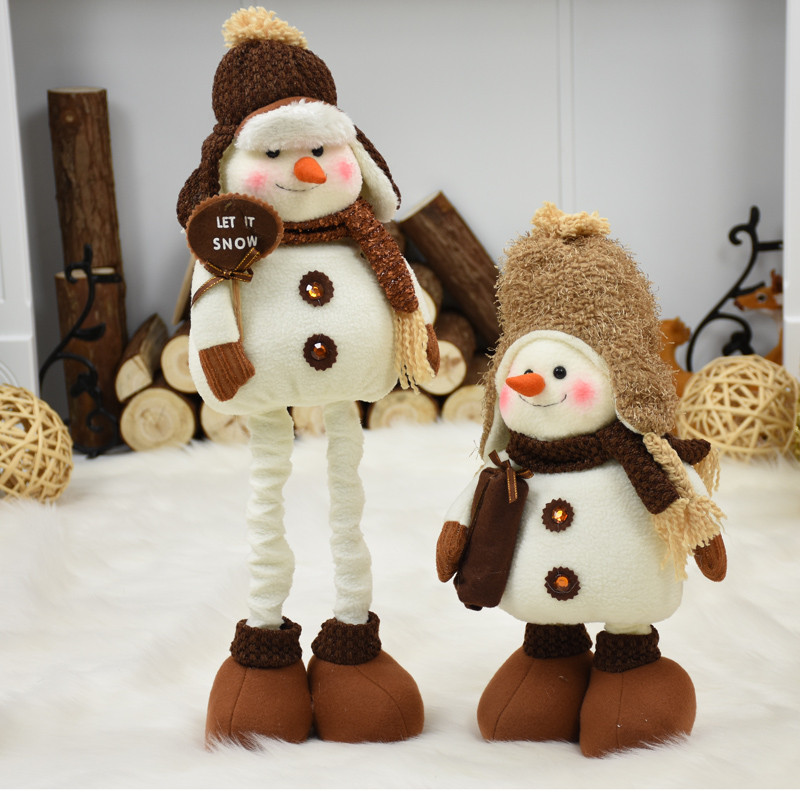 Christmas Decorations for Home Extendable Standing 38-55cm Snowman Dolls New Year Birthday Gift Plush Toy Xmas Decor OrnamentsChristmas Decorations for Home Extendable Standing 38-55cm Snowman Dolls New Year Birthday Gift Plush Toy Xmas Decor Ornaments