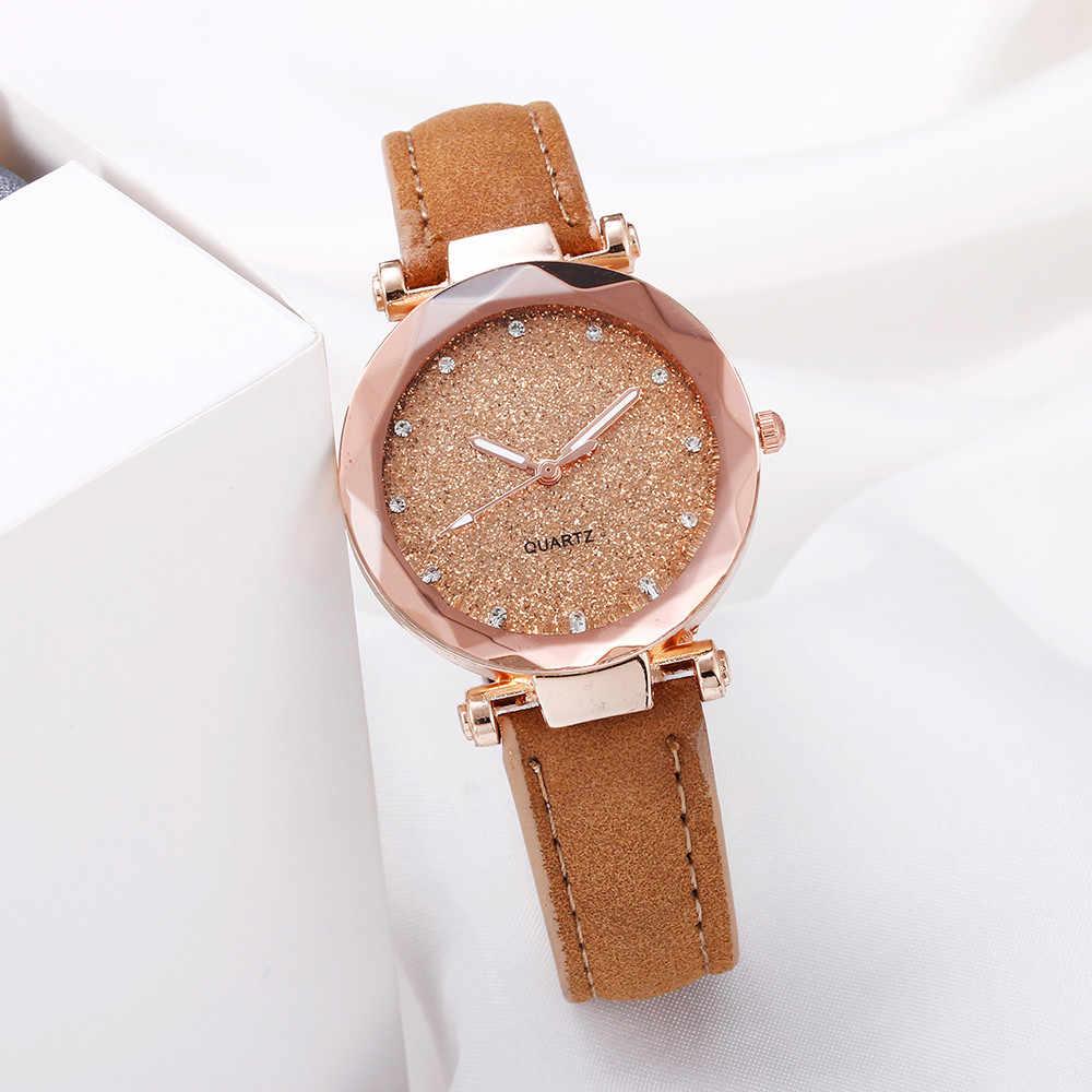 Dames mode ciel étoilé montre coréenne strass or Rose montre à Quartz femme ceinture montres montre bracelet femme 03 *