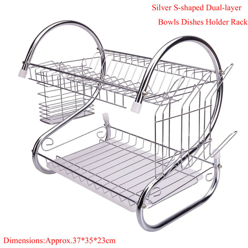 High Quality S-shaped Dual-layer Kitchen Chrome Cup Dish Drying Rack Spoons Collection Shelf Drainer Holder Rack