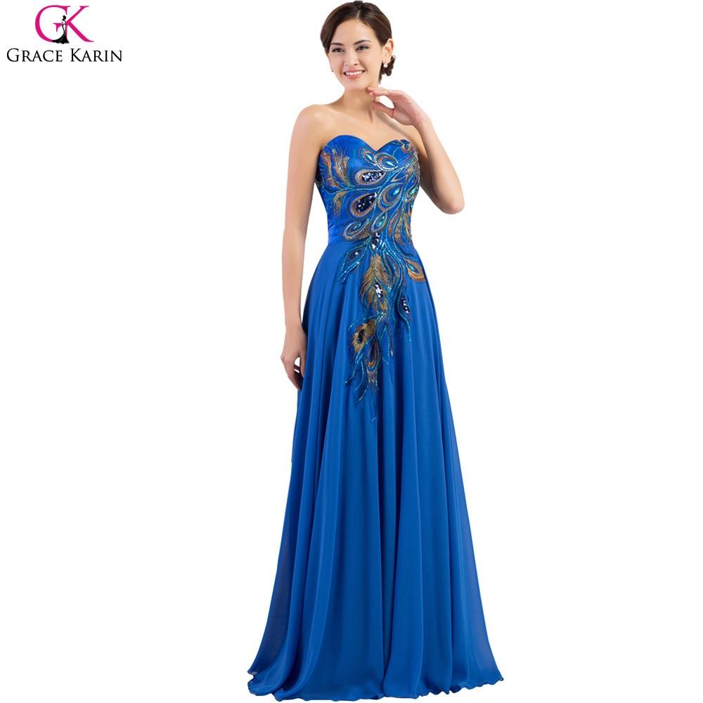 Peacock Bridesmaid Dresses Grace Karin Dresses 2017 Plus Size Blue ...