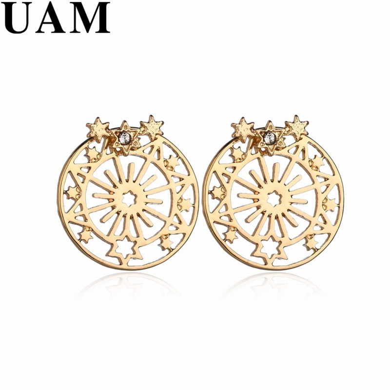 UAM Hot Sale Sweet Gold Circle Earrings For Women Snowflake Small Star Stud Earrings Brincos Trendy Korean Elegant Jewelry Gifts circle