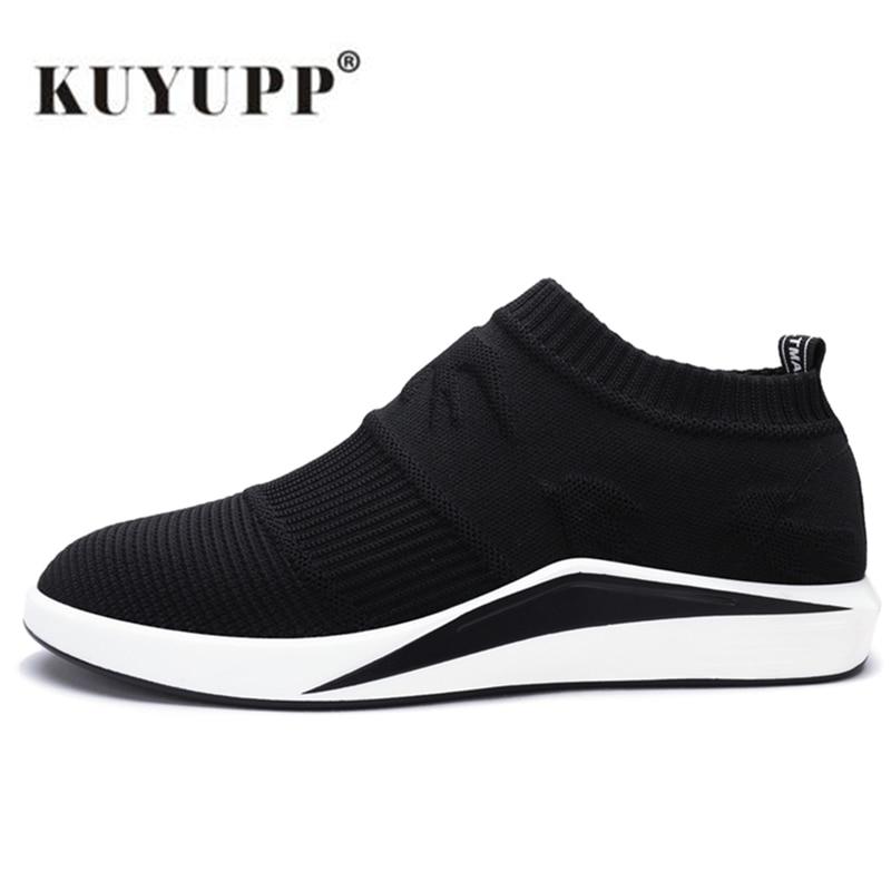KUYUPP Воздухопроницаемой Сеткой Мужчины Кроссовки Мягкие Спортивные Кроссовки для мужчин Athletic Обувь Летняя Площадка Free Run Черные Туфли B87