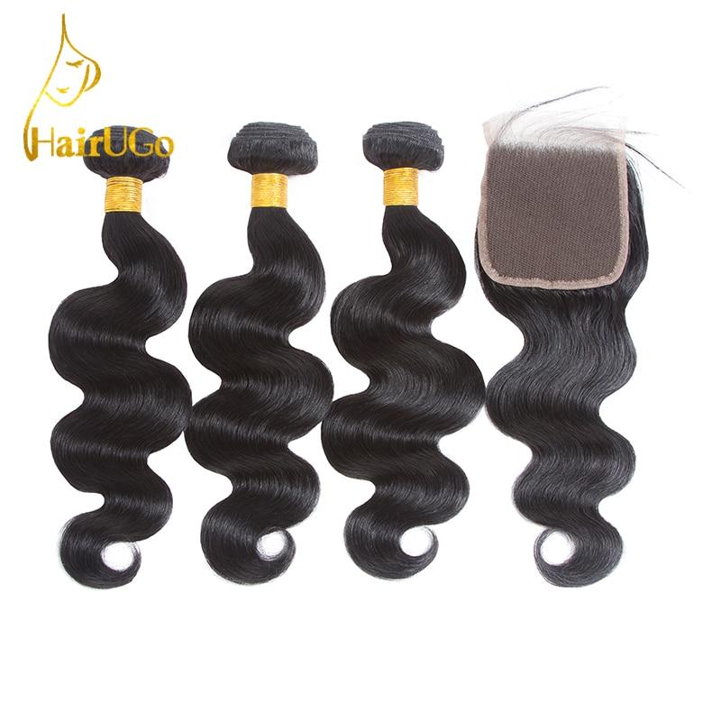 HairUGo pre-color 3 paquetes de onda del cuerpo agitar paquetes de - Cabello humano (negro)