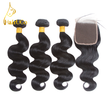 HairUGo Iš anksto dažytos 3 kūno bangos paketai Banga Žmogaus plaukų paketai su uždara gamta spalva perukas Nemokamas pristatymas Non-Remy Hair