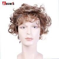 AOSIWIG Hommes Perruque Courte Bouclés Perruques Mixte Brun Cheveux Synthétiques Cheveux De Partie De Costume Résistant À La Chaleur Cosplay Perruque