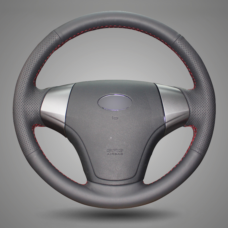 BANNIS Black Artificial Leather DIY Hand-stitched Steering Wheel Cover for Hyundai Elantra 2008-2010