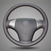 Black Artificial Leather DIY Hand Stitched Steering Wheel Cover For Hyundai Elantra 2008 2010