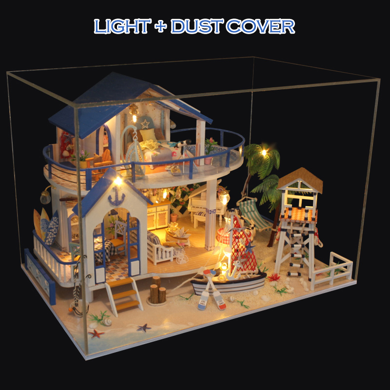 DIY Wooden Dollhouse Miniature Kits LED+Furniture House Room Model Gift Set US