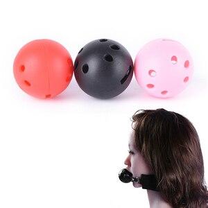 2 uds Bondage mordazas bucales abiertas boca pelota de mordaza fetiche Extreme transpirable bola mordaza, Juguetes sexuales adultos para juego de pareja para adultos tamaño