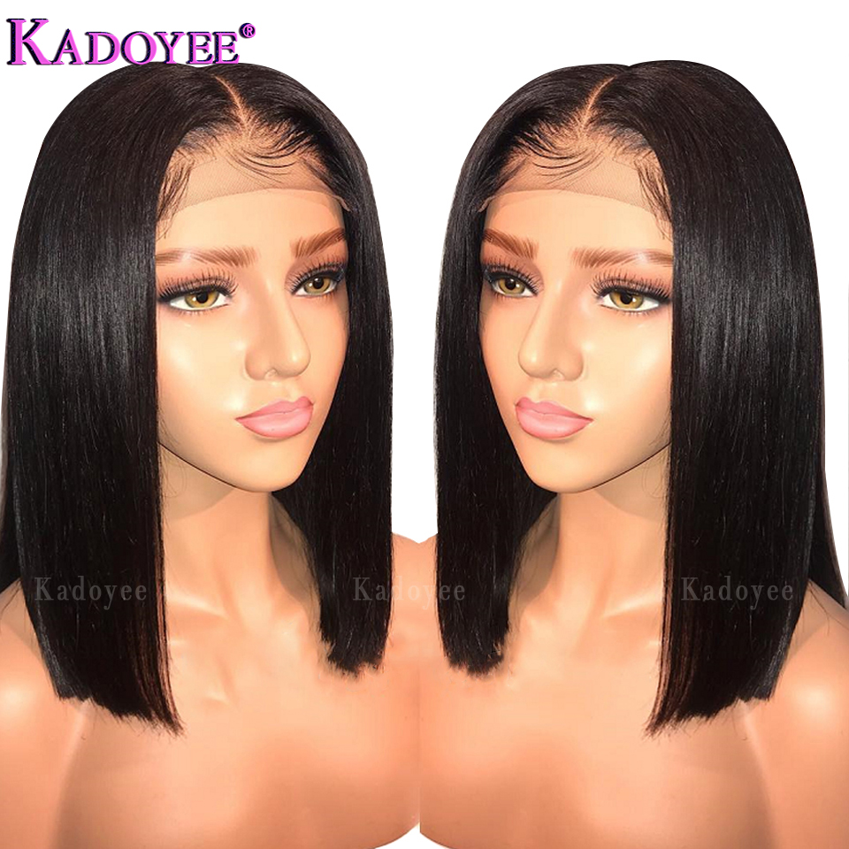 Brazilian Wig Short Bob Straight Lace Front Human Hair Wigs Middle Part Pre Plucked Bleached Knots