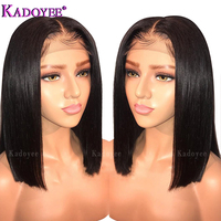 Brazilian Wig Short Bob Straight Lace Front Human Hair Wigs Middle Part Pre Plucked Bleached Knots Remy Hair Wig For Black Women