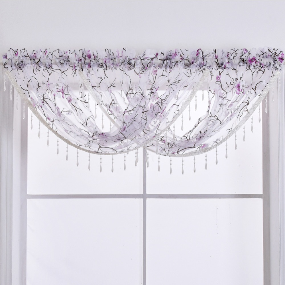 Patterns For Kitchen Curtains And Valances Us 18 46 Napearl Rod Pocket Beaded Valance For Living Room Short Kitchen Curtains Flower Pattern Design Modern Style Bedroom Ready Drapes In