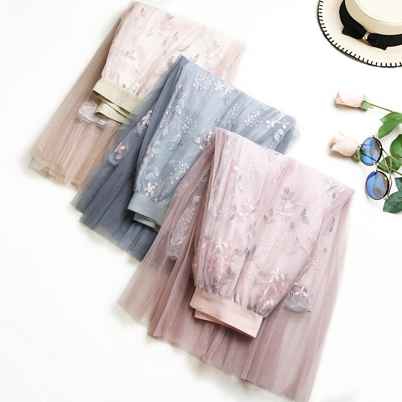 1Pc Women New Elegant Mesh Long Pleated Skirt Embroidery Floral A-line Tutu Tulle Layered Voile Skirt Female Midi Skirts SYT9604