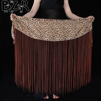 Bazzery New Belly Dance Accessories Hip Scarf Sexy Leopard Tassel Belly Dance Belt For Women Bellydance