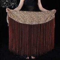 Bazzery New Belly Dance Accessories Hip Scarf Sexy Leopard Tassel Belly Dance Belt For Women Bellydance