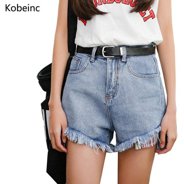 Vindima Lavado Cor Denim Shorts Hot Pants Magros Moda Alta Waise Perna Larga Shorts Jeans Colorido Bolso Mulheres Calças Curtas
