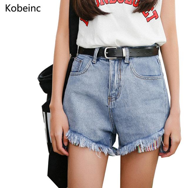 Vintage Washed Color Denim Shorts Slim Hot Pants Fashion High Waise Wide Leg Jean Shorts Colorful Pocket Women Short Pants