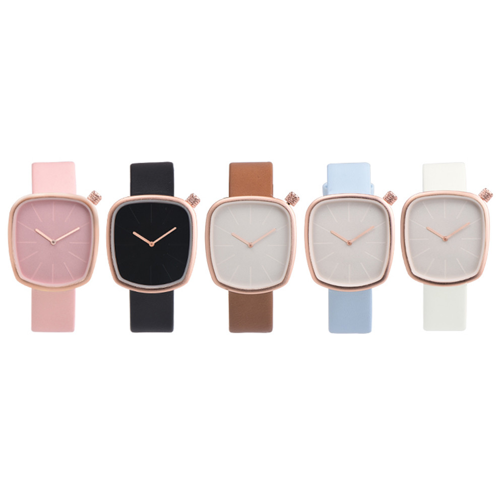 Women Fashion Leather Band Analog Quartz Round Wrist Watch Watches stylish bracelet zinc alloy band women s quartz analog wrist watch black 1 x 377
