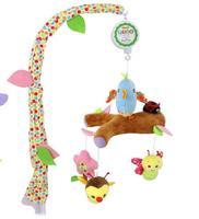 Lindo pájaro animal de la historieta Del Bebé caja de música de la felpa Sonajeros campana de la cama de bebé cuna juguetes colgantes móvil para los recién nacidos