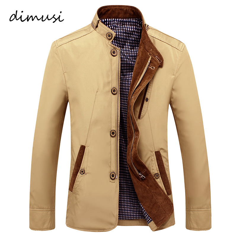DIMUSI New Autumn Bomber Men's Jacket Male Overcoat Casual Solid Jacket Slim Fit Stand Collar Zipper Men Trench Coat 4XL,TA008