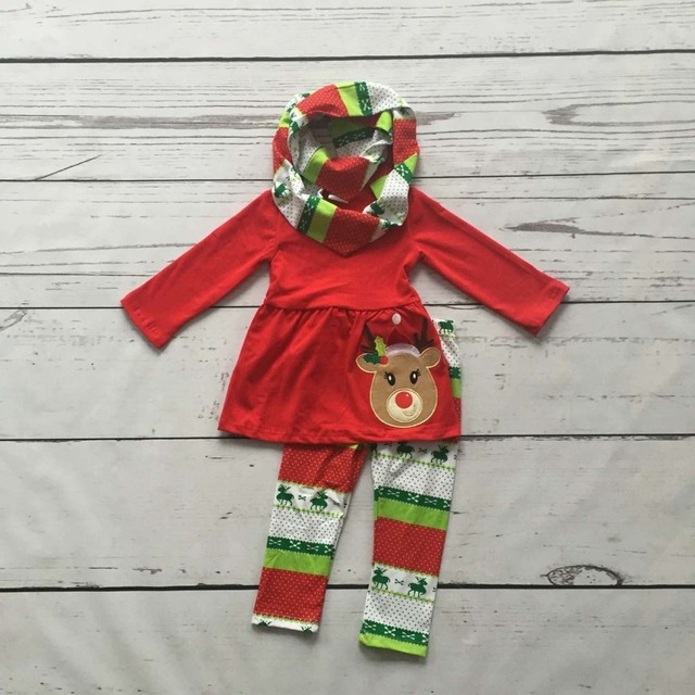 FALL OUTFITS persnickety girls 3 pieces scarf sets baby girls Christmas reindeer clothes kids red top outfits boutique clothing