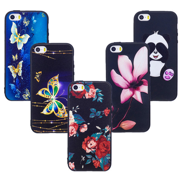 newest 237da b0f20 US $2.8 20% OFF|for iPhone 5s Case Cute 3D Relief Back Cover for iPhone se  Phone Cases Panda Gel for iPhone 5 s Flower Owl Coque Etui Capa Funda-in ...