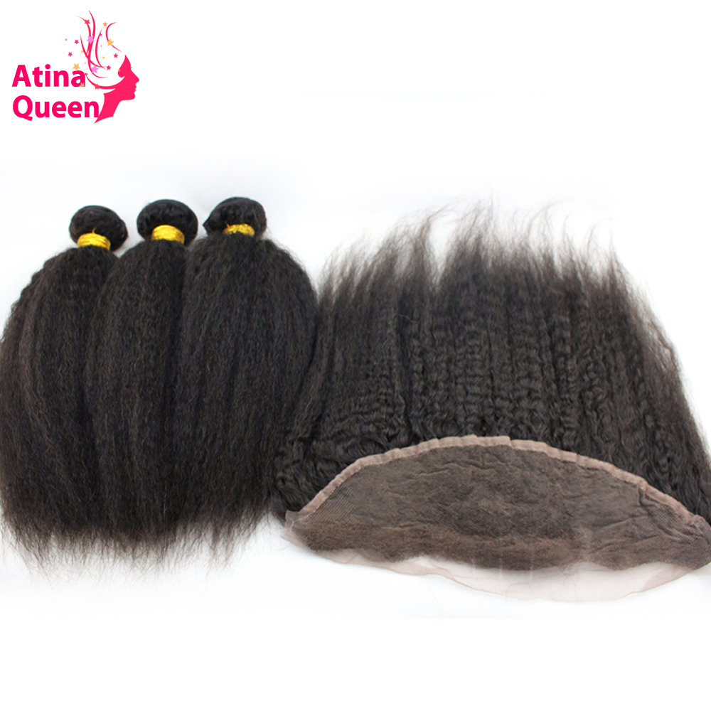 Atina Queen Hair Prodcts Brazilian Virgin Hair With Closure Kinky Straight Human Hair Bundles with 13