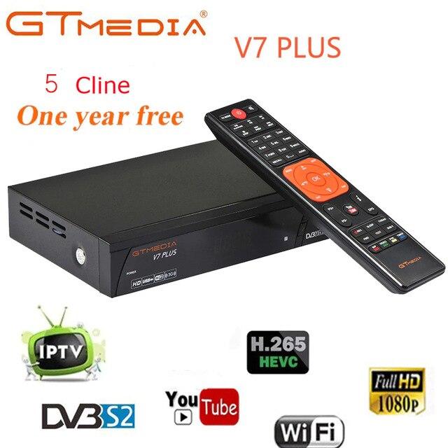 FREESAT/GTMEDIA V7PLUS Satellite Tv Receiver Tuner Dvb T2 With Wifi Antenna Full HD 1080P H.265 Dvb-s2 Cccam Digital Set Top Box