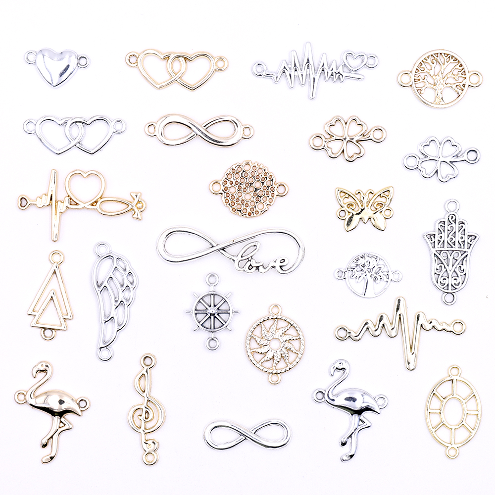 All Wholesale DIY Gold Connectors Charms For Bracelets Accessories Multiple Silver Charms Connectors For Jewelry Making For Sale