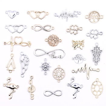 All Wholesale DIY Gold Connectors Charms for Bracelets Accessories Multiple Silver Color Jewelry Making