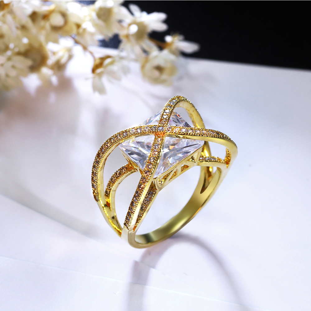 Latest Design Fashion Elegant Women Classic Red Big Stone Ring Gold ...